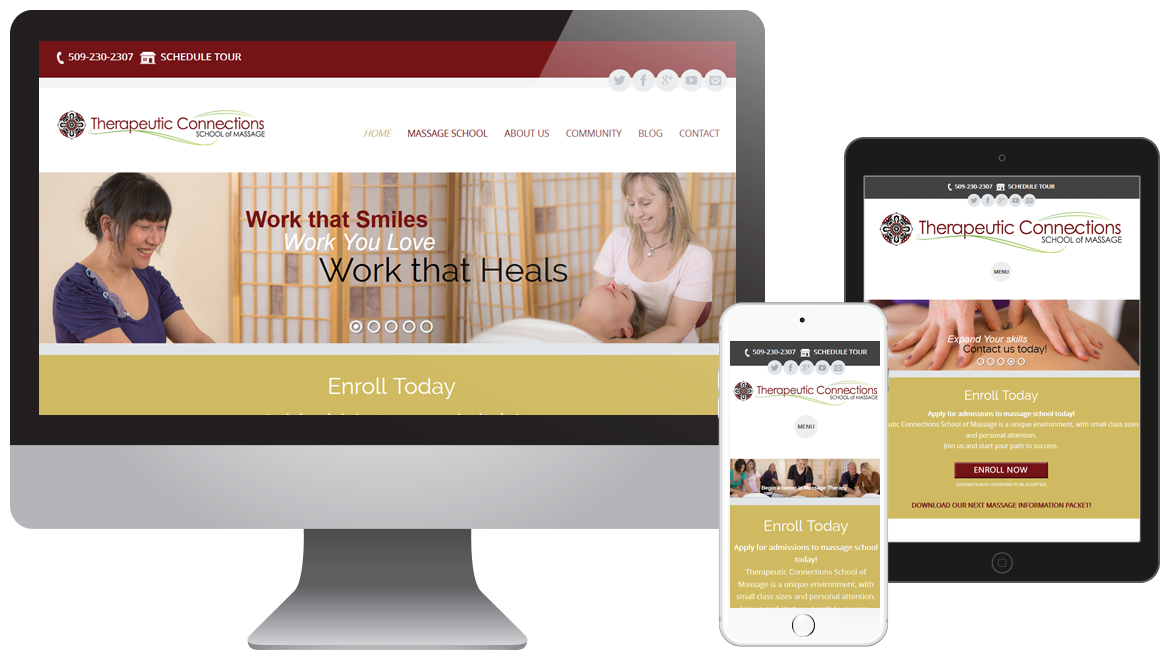 Portfolio - TC Massage School - Education - Website Design