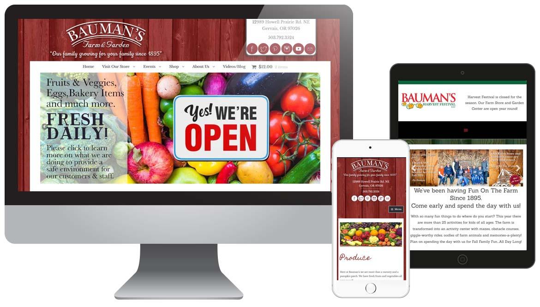 Bauman Farm & Garden website design